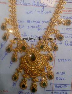 Jewellery Designs: 56 Grams Uncuts Emeralds Set