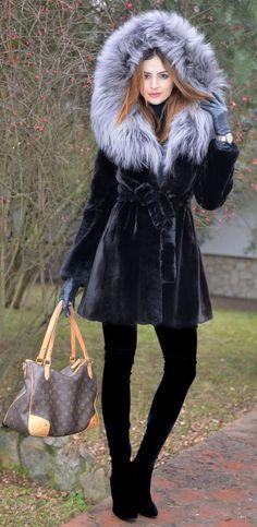 mink furs - saga mink fur coat with fox hood