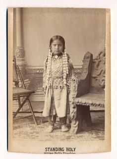 Standing Holy, daughter of Sitting Bull photographed by D.F. Barry. Several years later on December 15, 1890 she was present during her father's murder by Lakota Indian Agency Police at Standing Rock, Indian Territory (South Dakota).