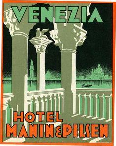 Artist Unknown poster: Venezia - Hotel Manin & Pilsen (luggage label)