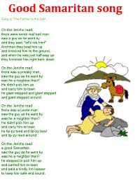 Good Samaritan Song color poster, and other bible songs from DLTK Childrens Bible Songs, Bible Songs For Kids, Toddler Bible, Preschool Bible Lessons, Bible Activities For Kids, Bible Study For Kids, Preschool Songs, Toddler Class, Toddler Activities