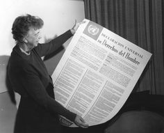 Eleanor Roosevelt with the Universal Declaration of Human Rights, November 1949. She was appointed UN ambassador by President Harry S Truman, and in her work there had significant impact in producing the Universal Declaration of Human Rights.- Courtesy Franklin D. Roosevelt Library and Museum