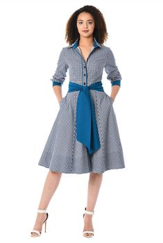 Our gingham check cotton shirtdress is cinched in with a removable contrast sash tie belt and tailored to fit at the princess seamed bodice and flare from the high seamed waist to the full skirt. Casual Dresses, Fashion Dresses, Modest Fashion, Maxi Dresses, Evening Dresses, Cotton Shirt Dress, Cotton Dresses, African Traditional Dresses, African Dress