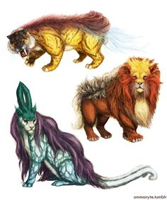 It's a common misconception that Raikou, Entei, and Suicune are called the Legendary Dogs, whereas they are in fact termed the Legendary Beasts, and are based on a variety of mythological creatures. Pokemon Na Vida Real, Gold Pokemon, Pokemon Moon, Pokemon In Real Life, Pokemon Funny, Pokemon Fan Art, Mythological Creatures, Fantasy Creatures, Mythical Creatures