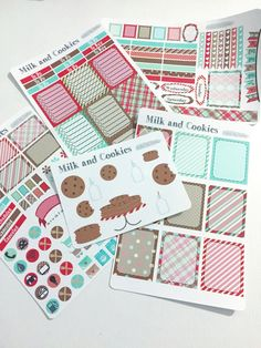 Available at CraftedByCorley on Etsy: Milk and Cookies Weekly Planner Kit - Erin Condren Vertical and Horizontal Life Planners and More