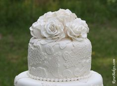 Vintage Lace Wedding Cake with Sugar Roses - Now – the good stuff!  the Lady made the lace medallions and pearls on this cake with lace molds/presses and silicone pearl molds.