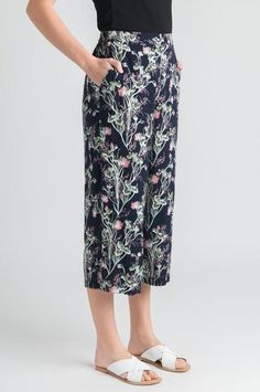 Remain fashion forward in the Sweetpea Print Culotte. The culotte is always a fantastic summer pant option. With a beautiful fit and gorgeous print, these culottes are a must-have for the spring and summer months. Pair with our Lace Cami Top (coming soon) for a crisp approach to those long hot days ahead. 100% Polyester S002117