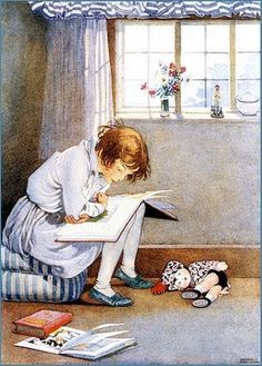 Book Illustration of a Girl Reading by Honor C. Appleton Photographic Print at… Reading Art, Woman Reading, Children Reading, Reading Books, Girl Reading Book, Reading Posters, I Love Books, Books To Read, Children's Books