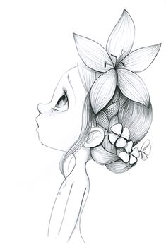 Flowers girl drawing illustration ideas for 2019 Pencil Art Drawings, Art Drawings Sketches, Easy Drawings, Cute Drawings Of Girls, Flower Sketches, Drawing Flowers, Beautiful Drawings, Tattoo Sketches, Doodle Art