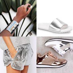 tendência metalizado bracelete shorts tênis sneakers shoes trend moda fashion metallized gold silver prata dourado rosê cobre bracelet