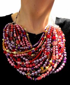 Biggest statement necklace EVER! I'm in love..........  http://www.etsy.com/listing/87039501/super-statement-necklace-red-gold-purple