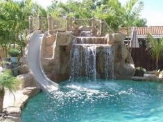 pools with waterfalls design ideas backyard pool in ground pools pool with slide # Cool Swimming Pools, Best Swimming, Swimming Pool Designs, Waterfall Design, Pool Waterfall, Pond Design, Landscape Design, Pond Construction, Garden Floor