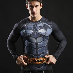 Compression T shirts Long Sleeve Fitness Top Superman Printed Tshirts Superhero Tees Crossfit Bodybuilding Tees 2017 ZOOTOP BEAR | massage-physicaltherapy