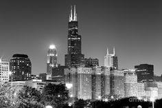 Chicago Night Skyline In Black And White Photograph  - Chicago Night Skyline In Black And White Fine Art Print