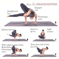 How To: GRASSHOPPER . SWIPE: Benefits, Common Mistakes, Warm Ups . ▫️Begin in squat position on tip toes. ▫️Place right leg over bent knee (legs should be in figure ▫ Ashtanga Yoga, Yoga Bewegungen, Yoga Pilates, Pilates Workout, Yoga Flow, Exercise, Workouts, Yoga Routine, Yoga Fitness