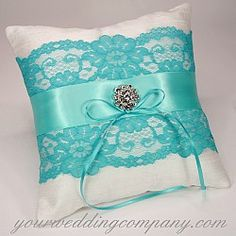 Dupioni Silk & Lace Ring Pillow in Aqua / Tiffany Blue with a Swarovski crystal center - http://www.yourweddingcompany.com