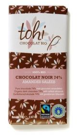 Tohi 70g. Ciocolata Organica neagra 74% cacao si migdale sarate