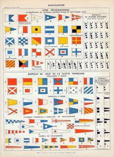 1898-1904 Antique French Chromolithograph of Naval Signal Flags. From Nouveau Larousse Illustré