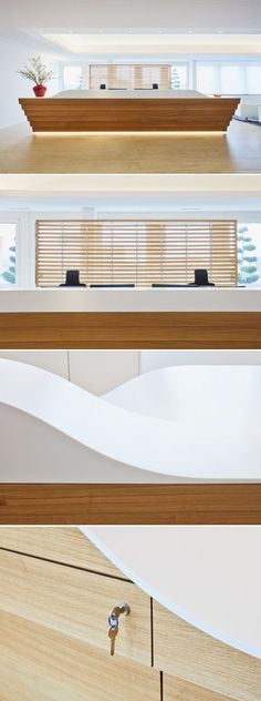 Oak & HI-MACS® Solid surface - Desk designed by Rolf Kipfer AG.