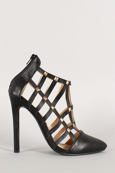 Leatherette Studded Cutout Caged Stiletto Bootie