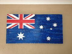 Australian flag made from pallets Australian Flags, Australian Art, Recycled Pallets, Wood Pallets, Home Crafts, Diy Crafts, Sell My Art, Repurposed Items, Basement Ideas