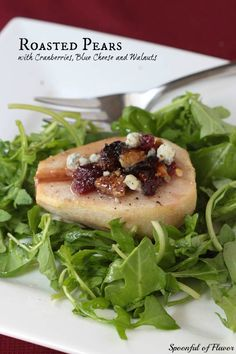 Roasted Pears with Cranberries, Blue Cheese and Walnuts ~ Easy salad that makes an impressive dish for a dinner party or holiday event!