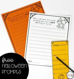 Five free writing prompts all Halloween themed that are perfect for first grade and second grade students this October! Second Grade Writing Prompts, Halloween Writing Prompts, Writing Prompts For Kids, Cool Writing, Kids Writing, Writing Centers, Writing Resources, Kindergarten Writing Activities, Kindergarten Centers