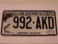 MAINE SUPPORT WILDLIFE LICENSE PLATE 992-AKD