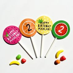 Tutti Frutti Cupcake Toppers Fruit Birthday, 2nd Birthday Party Themes, Second Birthday Ideas, Tutti Fruity Party, Fruit Party, Tutti Frutti, Cupcake Toppers, Birthday Invitations, Party Time