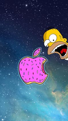 The simpsons, apple, iphone Ios 7 Wallpaper, Tumblr Wallpaper, Beste Iphone Wallpaper, Simpson Wallpaper Iphone, Wallpapers Ipad, Cartoon Wallpaper, Cute Wallpapers, Iphone Backgrounds, Apple Logo Wallpaper Iphone