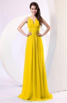 445f5236a3e Yellow Simple Column Scoop Chiffon Ruching Bridesmaid Dresses Salmon  Bridesmaid Dresses