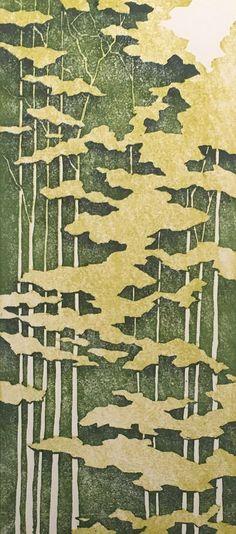 Woodblock Print Forest No. 4 Reduction Print Moku by starkeyart