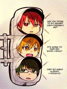 Generation of Miracles, traffic light version! XD Kise, why so kawaii? :3