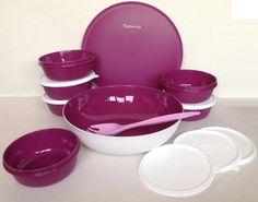 Tupperware Allegra Radiance Bowl Modular Bowls with Fork Set Purple White | eBay