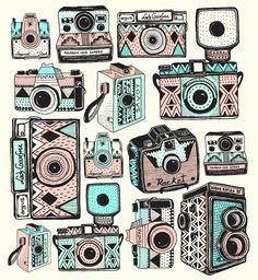 pattern, vintag camera, vintage cameras, art prints, indi maverick, illustr, design