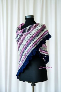 Crocheted shawl with trim Triangle lace shawl Lace by DoroGato