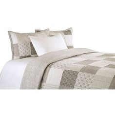 New Rysing Cotton Reversible Quilt Set by Gracie Oaks. Bedding Furniture from top store Boho Comforters, Maya, Gris Taupe, Ashley Home, Ruffle Bedding, Patchwork Designs, Dust Mites, Cotton Sheet Sets, Quilt Sets