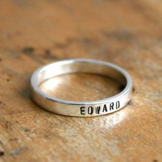 Personalized ring. Sterling silver hand stamped ring - stacking name ring - USD $46.99