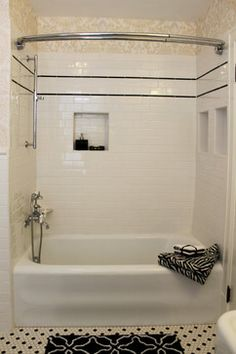 Bathroom Wallpaper Geometric Bath 21 Ideas For 2019 Bathroom Wallpaper Black And White, Bathroom Wallpaper Geometric, Black And White Tiles, Damask Wallpaper, Black Dots, Black Trim, Black White, White Tile Shower, Tub Shower Combo
