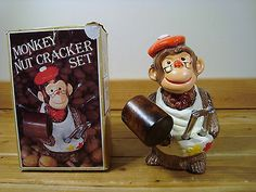 Vintage Monkey Nut Cracker Set Earthenware Wooden Cracker w Box | eBay
