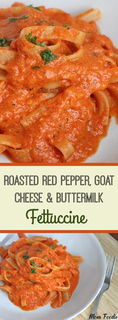 This Fettuccine with Roasted Red Pepper & Goat Cheese Buttermilk Sauce was a rarity in my household… something my daughter and I both ate (well, it didn't quite start that way, there was some drama first). We are both fussy characters. I'm decidedly finicky about what goes in my meals and she has strong textural …