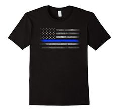Thin Blue Line American Flag T-Shirt. Made for supporters of Law Enforcement and the Thin Blue Line with distressed look. http://amzn.to/2jb3foQ #thinblueline #thinbluelineflag