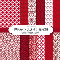 Damask digital paper red damask digital by ValerianeDigital