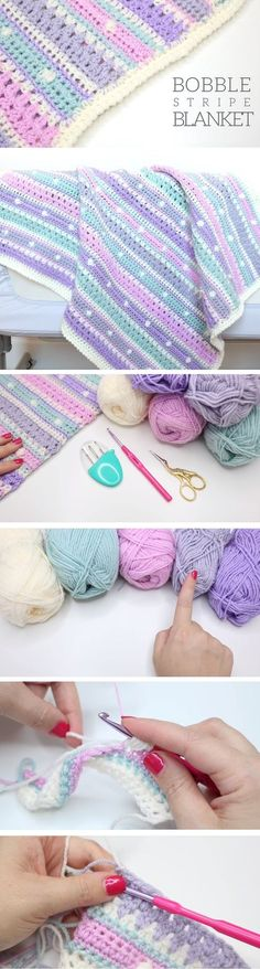 Bobble Stripe Blanket Tutorial