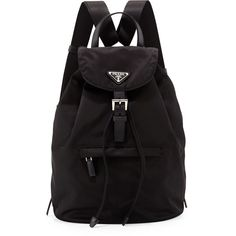 Prada Vela Medium Backpack ($900) ❤ liked on Polyvore featuring bags, backpacks, accessories, logo bags, triangle bag, drawstring bag, knapsack bags and backpacks bags