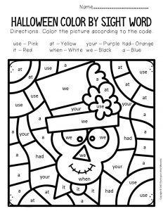 Farbe nach Gesichtswort Halloween Kindergarten Arbeitsblätter + Freebie - Insight & Inspiration from The Keeper of the Memories - kind Halloween Math Worksheets, Halloween Activities, Kindergarten Worksheets, Halloween Puzzles, Phonics Worksheets, Literacy Activities, Literacy Centers, Halloween Party, Halloween Color By Number