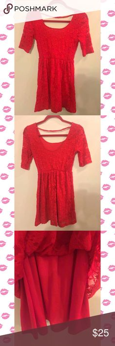 Red Lace Dress🔥 Forever 21 Lace Skater Dress🔥 Get dolled up for a night out on the town with this adorable dress. Fully lined & in great condition. Has stretch to it. Size Medium Forever 21 Dresses Midi