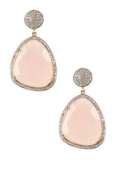 Rose Quartz & White Diamond Earrings