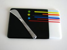 Beautiful!! Check out her shop.  <3 Cheese Board Black White Fused Glass Platter Serving by GetGlassy, $40.00