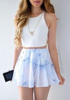 Chic Style  = White Crop Top + Stylish Mini Skirt + Neckless / #fashion #outfits #summer